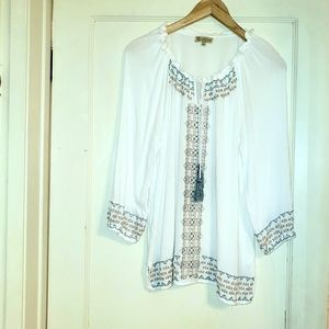 Democracy Embroidered Peasant blouse Large